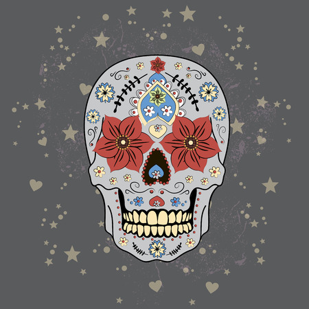 macabre: Day of The Dead colorful Skull with floral ornament, vector Illustration