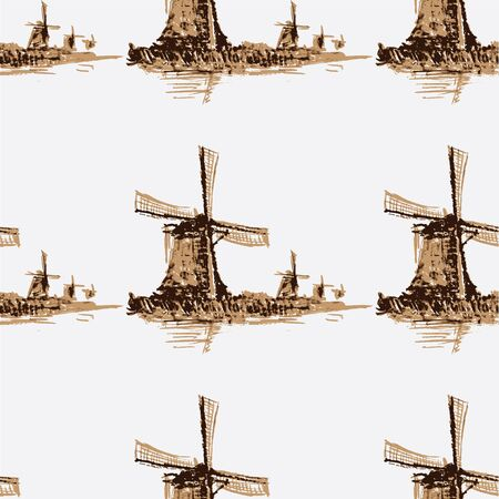 Seamless pattern Holland windmill.Watercolor. Seamless pattern can be used for wallpaper, pattern fills, web page backgrounds, surface textures. Vector Vector