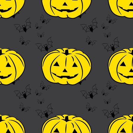 Halloween background with pumpkins, vector Vector