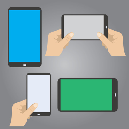 hands hold the phone in horizontal and vertical position, vector
