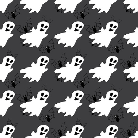haunt: Seamless pattern with white ghosts. Seamless pattern can be used for wallpaper, pattern fills, web page backgrounds, surface textures.