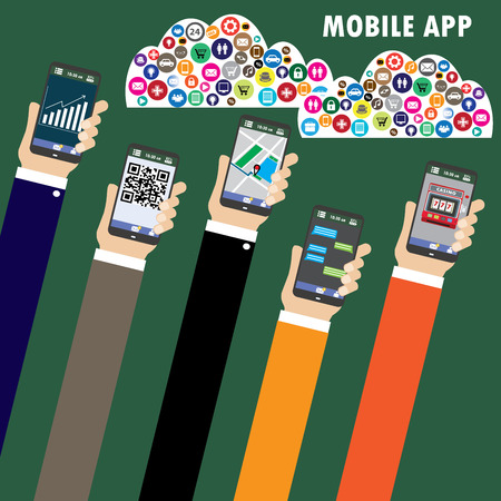 software development: Mobile applications concept. Hand with phones flat illustration.