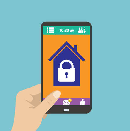 smartphone in hand: Smartphone in hand. smart house or security at home. Vector