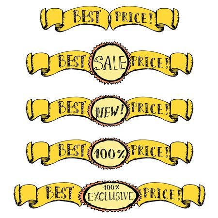 Best price- set of badge, label, ribbon doodle, hand drawing vector Vector