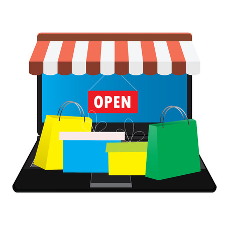 tent city: Online store. Shopping bags. Vector Illustration