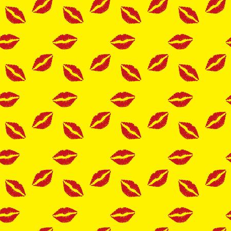smooch: Seamless pattern  red lips on yellow  background Illustration
