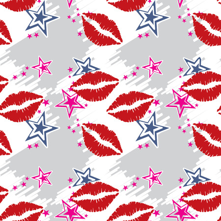 lust: Seamless pattern  red lips with stars. Seamless pattern can be used for wallpaper, pattern fills, web page backgrounds, surface textures.