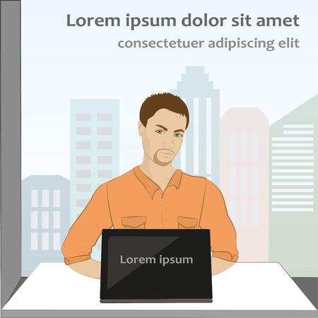 asian man laptop: man sitting on computer, vector illustration