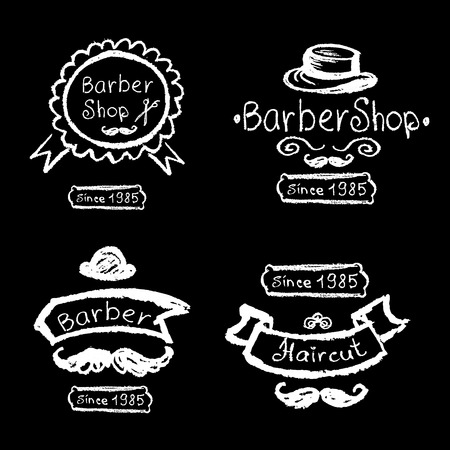 chalks: Set of vintage barber shop logo, labels, prints, badges and design element. Chalks hand drawing, vector