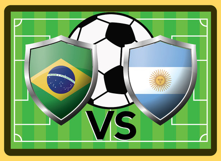 Brazil vs Argentina. Sport game vector symbol against the background of a football field and ball. Illustration