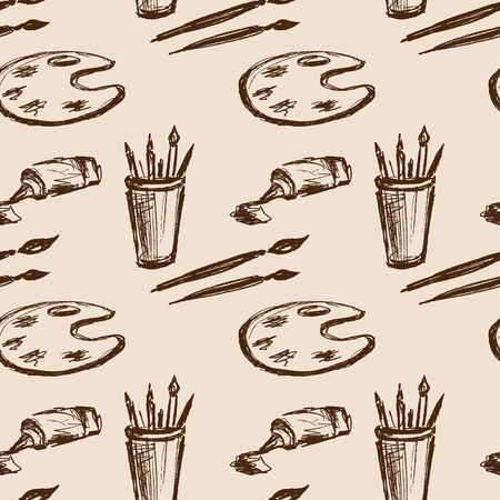 Seamless pattern art tools .Hand drawing . Seamless pattern can be used for wallpaper, pattern fills, web page backgrounds, surface textures. Vector Illustration