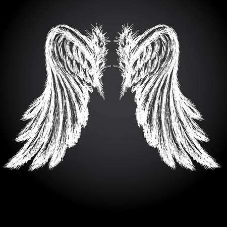 Wings on black background,hand drawing, vector illustration