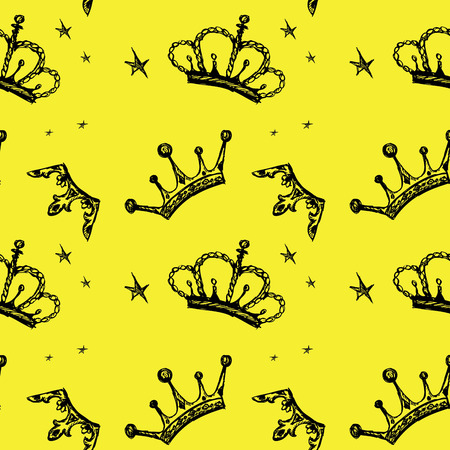 yellow crown: Seamless pattern crown on a yellow background. Seamless pattern can be used for wallpaper, pattern fills, web page backgrounds, surface textures.