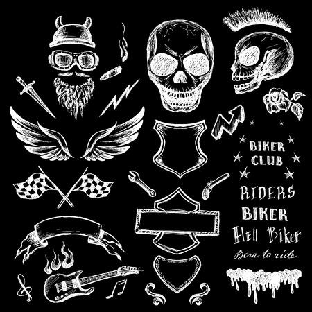 bikers doodles set, hand drawn design elements. vector illustration