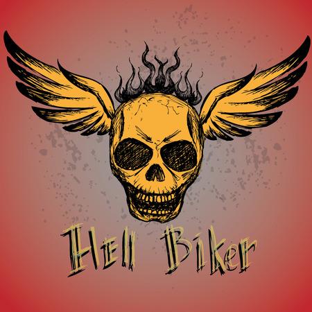 disegno a mano: biker emblema, o tatuaggio, disegno a mano, vettore Vettoriali