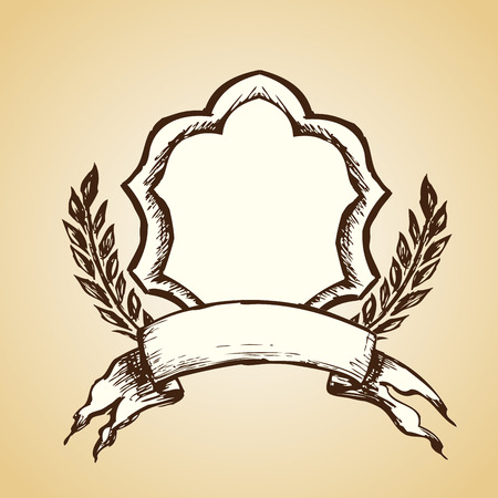 disegno a mano: emblema. Disegno a mano, vettore