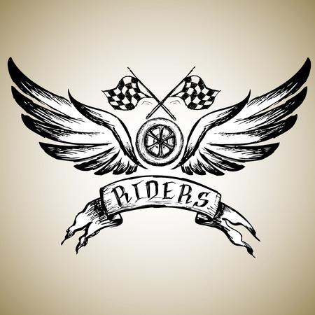 biker tattoo of embleem, met de hand getekende ontwerp elementen. vector illustratie