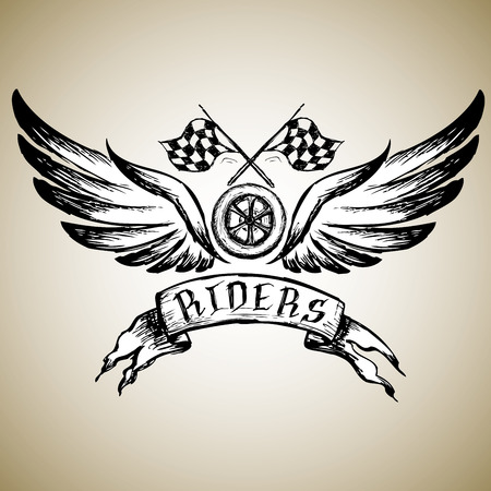 biker tattoo or emblem, hand drawn design elements. vector illustration