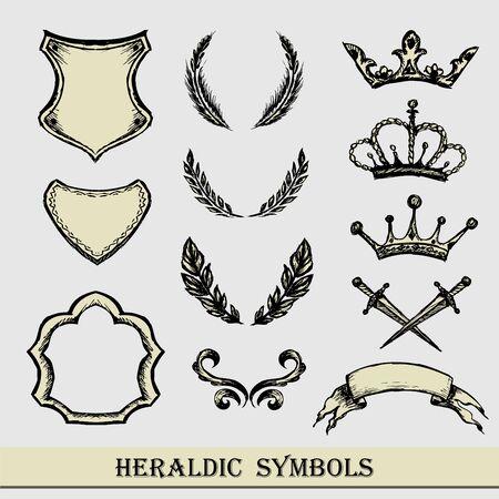 heraldic symbols: heraldic symbols, hand drawing,vector Illustration