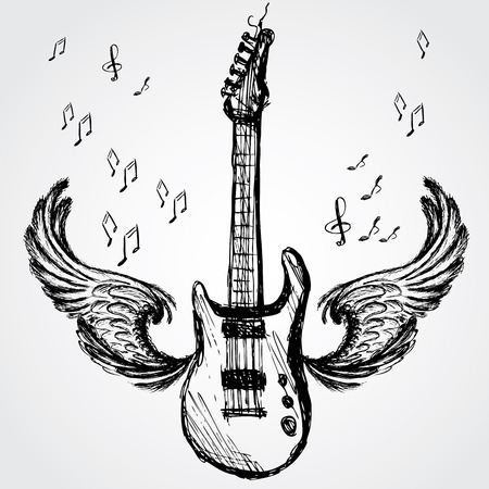 music background with rock guitar and wings, vector