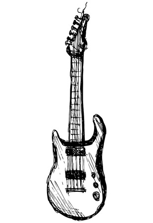 guitar over white background, hand drawing, vector