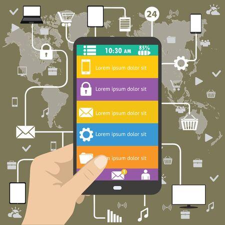 gadget: Hand holing black smartphone, flat design menu and application concept.  Illustration