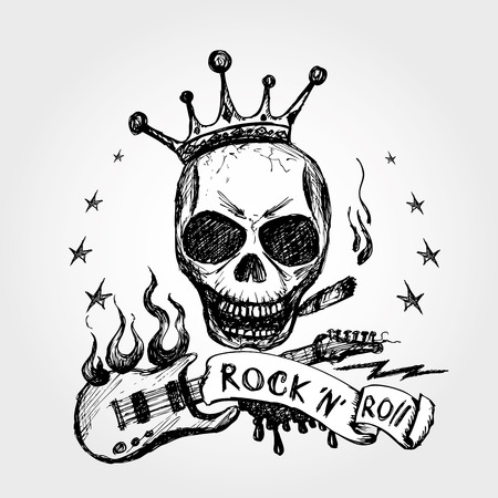 Rock and roll skull guitar . Hand drawing. Vector.