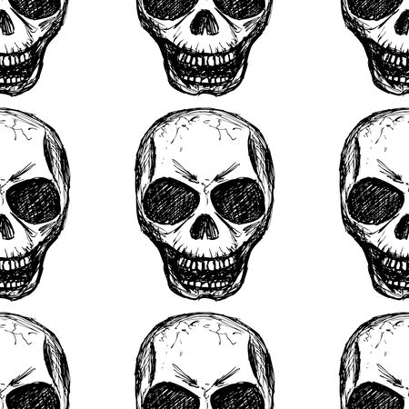 sceleton: Seamless pattern  skull on white background. Seamless pattern can be used for wallpaper, pattern fills, web page backgrounds, surface textures.