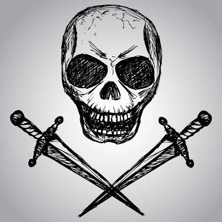 daggers: daggers and a skull, hand drawing, vector