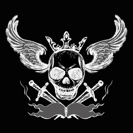 disegno a mano: Skulls ali tatuaggio sul nero, disegno a mano, vettore Vettoriali