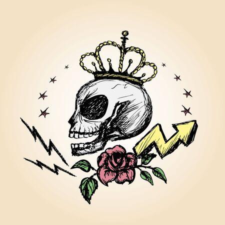 disegno a mano: Emblema del vettore con un teschio, disegno a mano, vettore