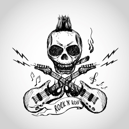 popular music: Rock and roll skull guitar . Hand drawing. Vector.