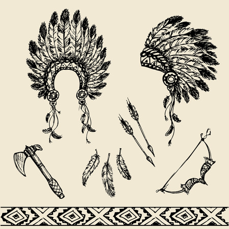 Collection of vintage hand drawn design elements: peace pipe, Indian hat, dreamcatcher, axe, feathers and stars. Vector illustration