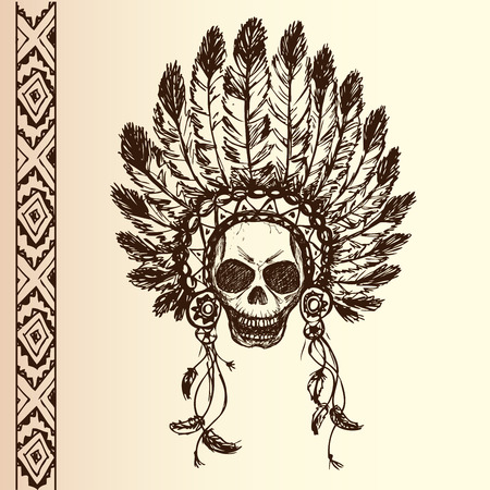 indian chief headdress: native american indian chief headdress (indian chief mascot, indian tribal headdress, indian headdress) t-shirt graphics, hand drawing