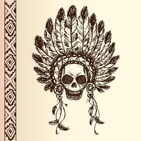 indian chief headdress: nativo americano copricapo capo indiano (Capo indiano mascotte, indiano copricapo tribale, copricapo indiano) Grafica t-shirt, disegno a mano Vettoriali
