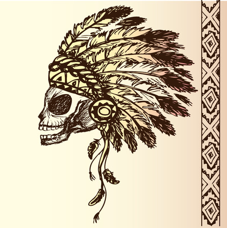 indian chief mascot: native american indian chief headdress (indian chief mascot, indian tribal headdress, indian headdress) t-shirt graphics, hand drawing