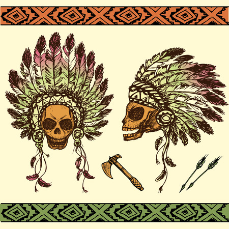 indian chief headdress: Vector illustration of human skull in native American Indian chief headdress with tomahawks