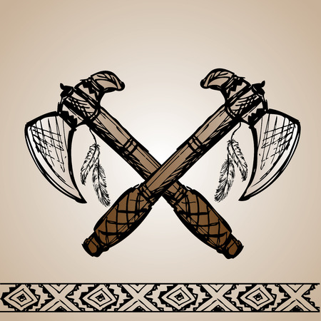 Vector illustration of native American Indian tomahawks, hand drawing, vector