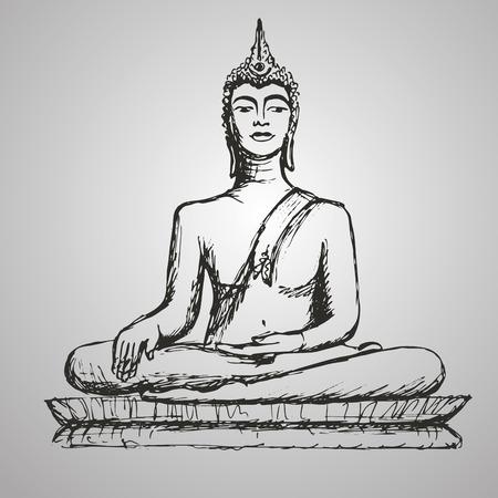 Hand drawn Buddha in meditation. Vector Illustration