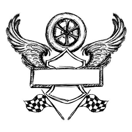 pen cartoon: biker tattoo or emblem , hand drawn design elements. vector illustration