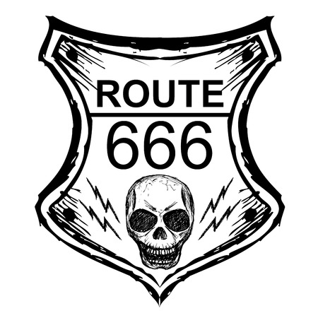tarmac: black route 666 sign on a white background, hand drawn, vector Illustration
