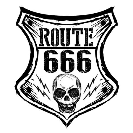 pavement: black route 666 sign on a white background, hand drawn,vector Illustration