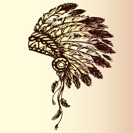 indian chief: native american indian chief headdress (indian chief mascot, indian tribal headdress, indian headdress), hand drawing, vector