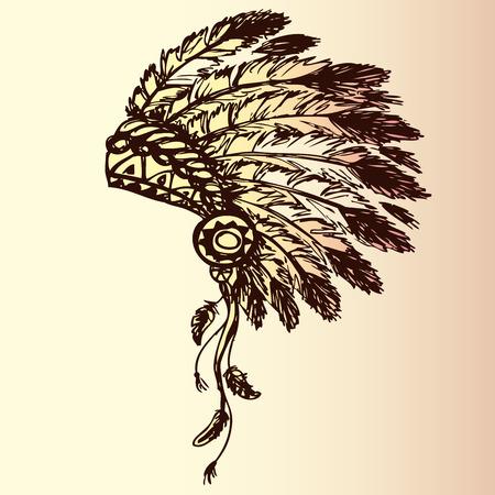 indian chief headdress: nativo americano copricapo capo indiano (Capo indiano mascotte, indiano copricapo tribale, indiano copricapo), disegno a mano, vettore Vettoriali