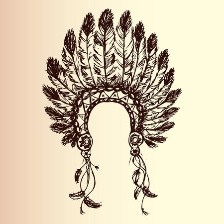 disegno a mano: nativo americano copricapo capo indiano (Capo indiano mascotte, indiano copricapo tribale, indiano copricapo), disegno a mano, vettore Vettoriali