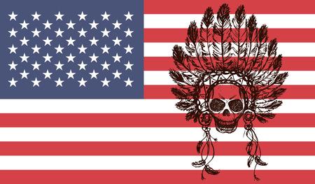 indian chief headdress: capo indiano nativo americano copricapo su bandiera usa sfondo (Capo indiano mascotte, indiano copricapo tribale, indiano copricapo) Grafica t-shirt, disegno a mano