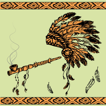 chief headdress: Vector illustration of a traditional Native American Peace Pipe and chief headdress Illustration