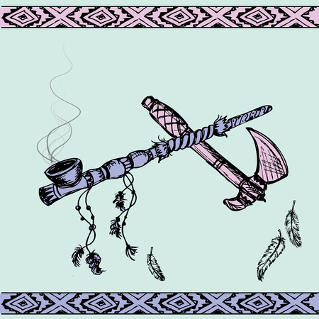 american tomahawk: Vector illustration of a traditional Native American Peace Pipe and tomahawk