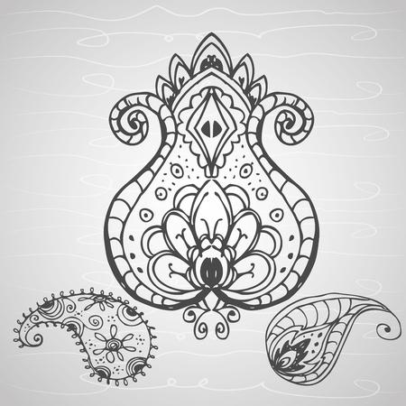 disegno a mano: ornamento paisley, disegno a mano, illustrazione vettoriale
