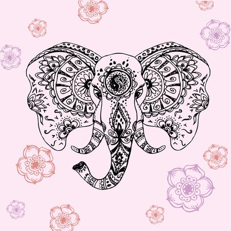 siluetas de elefantes: Resumen de vectores de elefante en el dibujo mehndi.Vector mano estilo indio Vectores